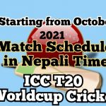 ICC Men's T20 Cricket World Cup Starting in October 2021